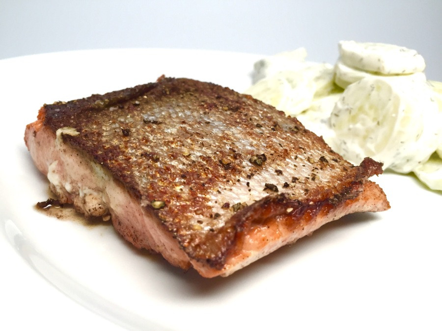 pan-seared salmon with cucumber-yogurt salad (mizeria)