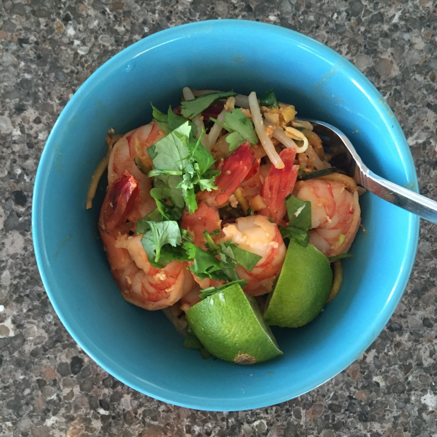 one-pan zoodle shrimp pad thai