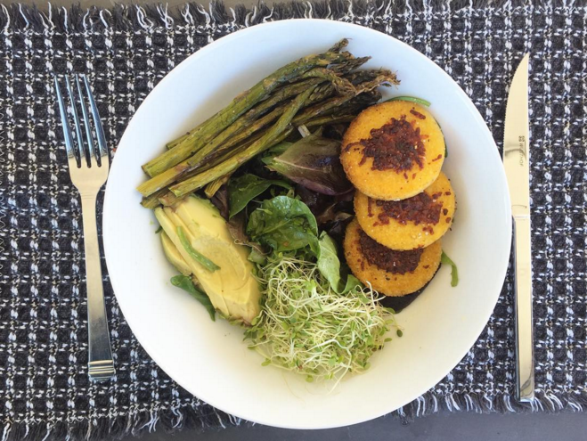 green goodness bowl with crispy polenta cakes, aka springtime